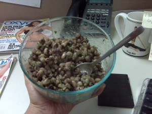 Black-eyed peas, 1 cup (boiled) Calories: 160 Protein: 5.23g Carbohydrate: 33.5g Total Fat: 0.63g Fiber: 8.2g *Excellent source of: Calcium (211mg), Folate (209mcg), and Vitamin A (1,305 IU)
