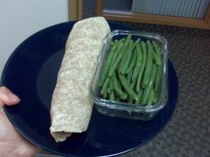 Roll the good stuff in the wrap. Voila.