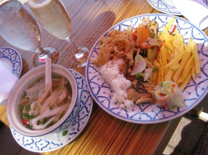 Tom yum soup. Veg pad Thai. Mango salad. Curry chicken. Fresh roll. $14