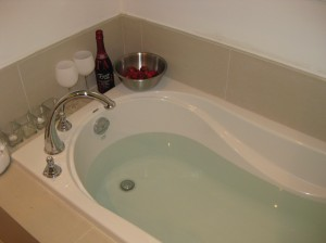 hot water + cold champagne + fresh strawberries = good for me.