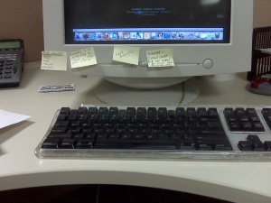 my desk at work (I really don't have an intersting picture for this one)